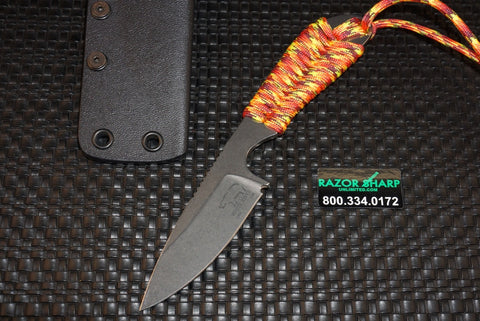 White River Knives Backpacker Fixed Blade Sunburst Orange Paracord Kydex Sheath - WRBP-SBOR