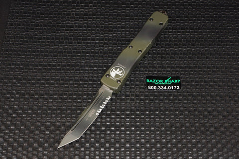 Microtech 123-2GC Green Camo Ultratech T/E OTF Automatic Knife Serrated Edge