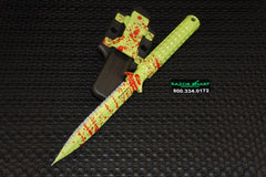Microtech 115-3Z A.D.O. Full Serrated D/E Dagger Fixed Blade Knife Zombie Green