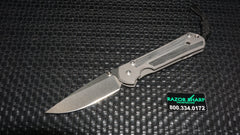 Chris Reeve Small Sebenza 21 Black Micarta Knife Drop Point Stonewash Plain Edge