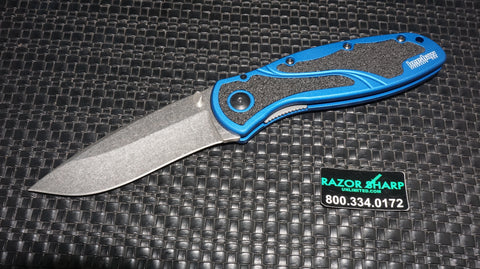 Kershaw 1670NBSW Blur Navy Blue Assisted Opening Knife Stonewash Plain
