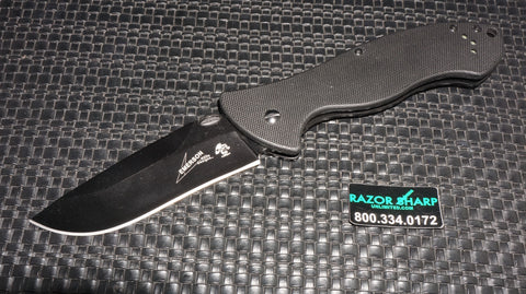 Kershaw 6045BLK Emerson CQC-9K Liner Lock Knife Black G-10 Black Plain