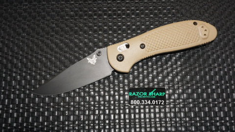 Benchmade 551BKSN Desert Tan Griptilian AXIS Lock Knife S30V Black Plain