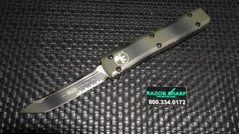 Microtech 123-2GC Green Camo Contoured Ultratech T/E OTF Automatic Knife Serrated