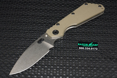 Strider SMF Knife Green G-10 Manual Folding Knife Plain Edge Stonewash
