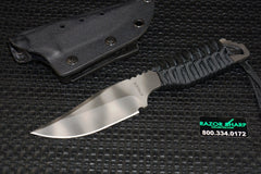 Strider Knives PR Clip Point Fixed Blade Knife Black Cord Wrapped Tiger Plain