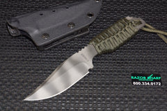 Strider Knives PR Clip Point Fixed Blade Knife OD Green Cord Wrapped Tiger Plain