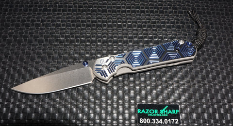 Chris Reeve Small Sebenza 21 CGG Knife Blue Hex Drop Plain Stonewash Edge