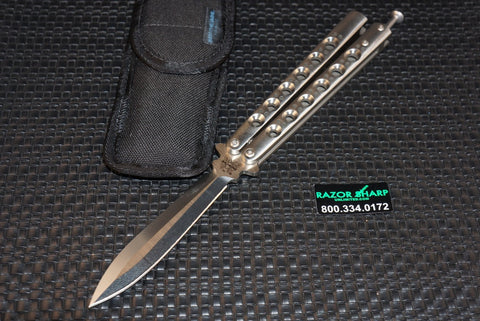 Benchmade 46 Titanium Rare Balisong Knife Spring Latch Spear Point Plain