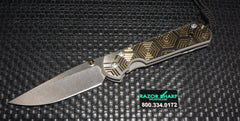 Chris Reeve Large Sebenza 21 CGG Knife Gold Hex Drop Plain Stonewash Edge
