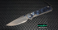 Chris Reeve Large Sebenza 21 CGG Knife Blue Hex Drop Plain Stonewash Edge