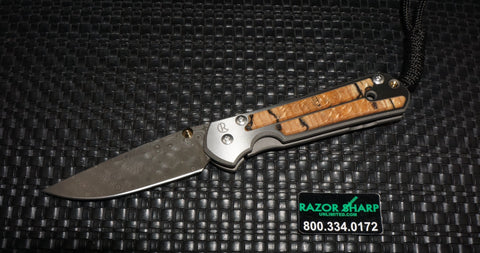 Chris Reeve Small Sebenza 21 Raindrop Damascus Spalted Beach Inlay