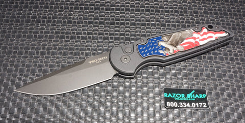 Protech TR-3 Shaw Eagle Automatic Folding Knife Black Plain Edge