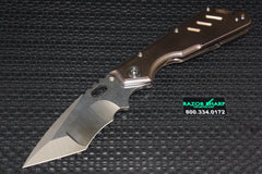 Mick Strider Custom SMF Knife Satin Nightmare Ground Titanium Handle MSC