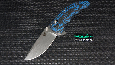 Benchmade 300-1 Ball Flipper Axis Lock Knife Black Blue G-10 Satin Plain