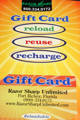 Razor Sharp Unlimited Knife Store Knife Shopping Gift Card $125.00 for Any Occasion Whether you are looking for their favorite merchant gift cards personalized Visa gift card you will find it at razorsharpunlimited.com Plastic Cards for immediate delivery Visa MasterCard AMEX E-Gift Cards Local Gift Cards Group Gift