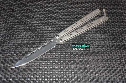 Razor Sharp Unlimited Cutlery T-Latch Balisong Butterfly Polished Stainless Steel