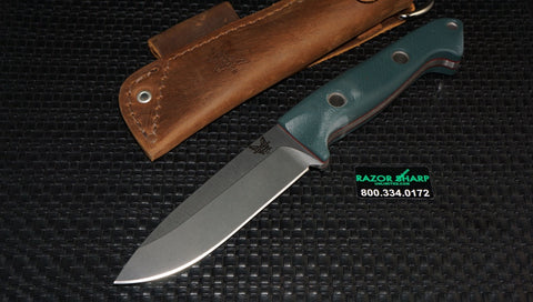 Benchmade 162 Bushcrafter Sibert Fixed Blade Knife Green G-10 Handle