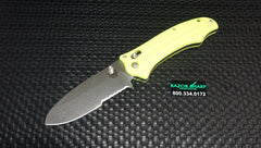 Benchmade 111SH2O-YEL Bullhead Axis Lock Knife Yellow Satin Serrated
