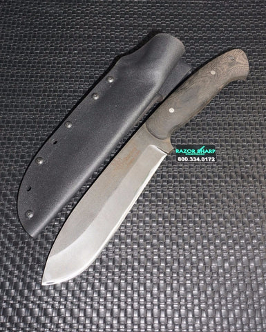 Custom Made Don Shipley Knives Bushcrafter Fixed Blade Knife Black G-10