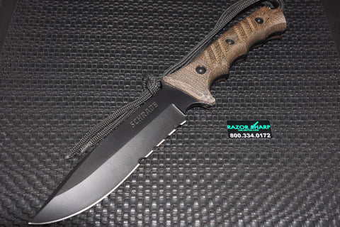 Schrade SCHF3N Extreme Survival Fixed Blade Knife Micarta Black Plain Edge