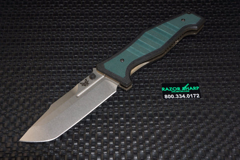 Benchmade 757 Vicar Liner Lock Knife Green/Black G-10 Plain Stonewash