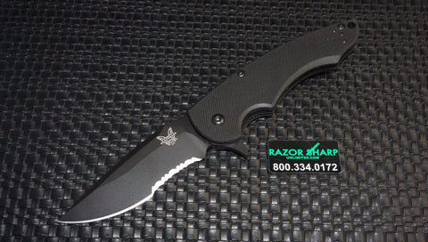 Benchmade 320BK Precinct Flipper Liner Lock Knife G-10 Black Plain