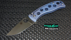 Spyderco C192TIBLP PITS Folder Slip Joint Knife Blue Titanium Satin