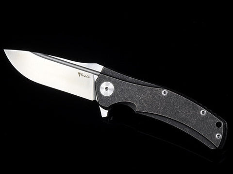 Reate Knives Horizon-C Frame Lock Knife Black Tumbled Ti Satin