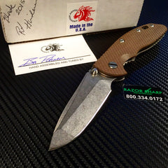Hinderer Knives XM-18 Spanto Non Flipper Knife Brown G-10 Stonewash Plain