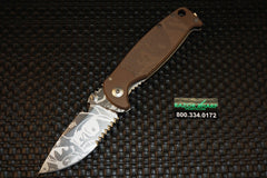 DPx HEST/F Mr. DP Knife Coyote G-10 Serrated Stonewash RH