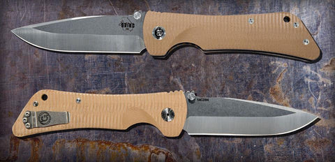 Southern Grind Bad Monkey Folding Satin Drop Point Blade Desert Tan G10