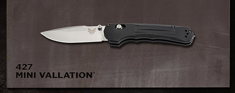 Benchmade 427 Mini Vallation AXIS-Assist Knife Black Satin CPM-S30V Plain Edge
