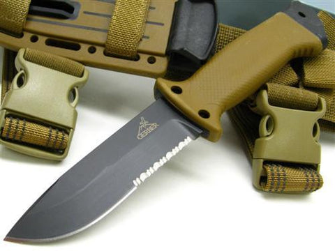 Gerber 1463 LMF II Infantry Coyote Brown Fixed Blade Combat Knife Serrated