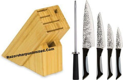 Kai Luna Hammered Mirror Finish Kitchen 6-Knife Set w/Storage Block ABS0620