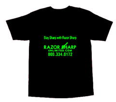 Razor Sharp Unlimited Knife Store Black Neon Green T-Shirt LARGE