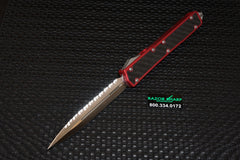 Microtech 106-6 Makora II OTF Automatic Knife CF/Red Satin Full Serr