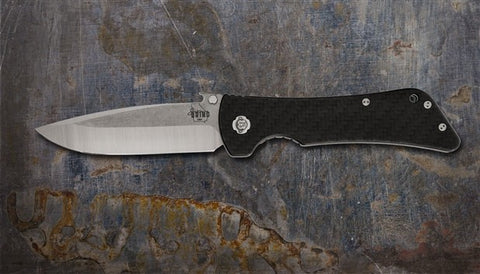 Southern Grind Bad Monkey Folding Satin Plain Drop Point Blade Wave Carbon Fiber