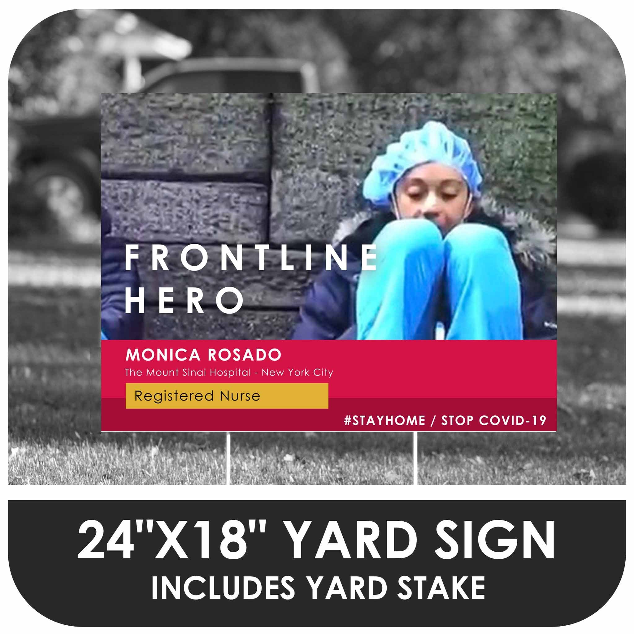 Frontline Hero - Custom Photo Yard Sign