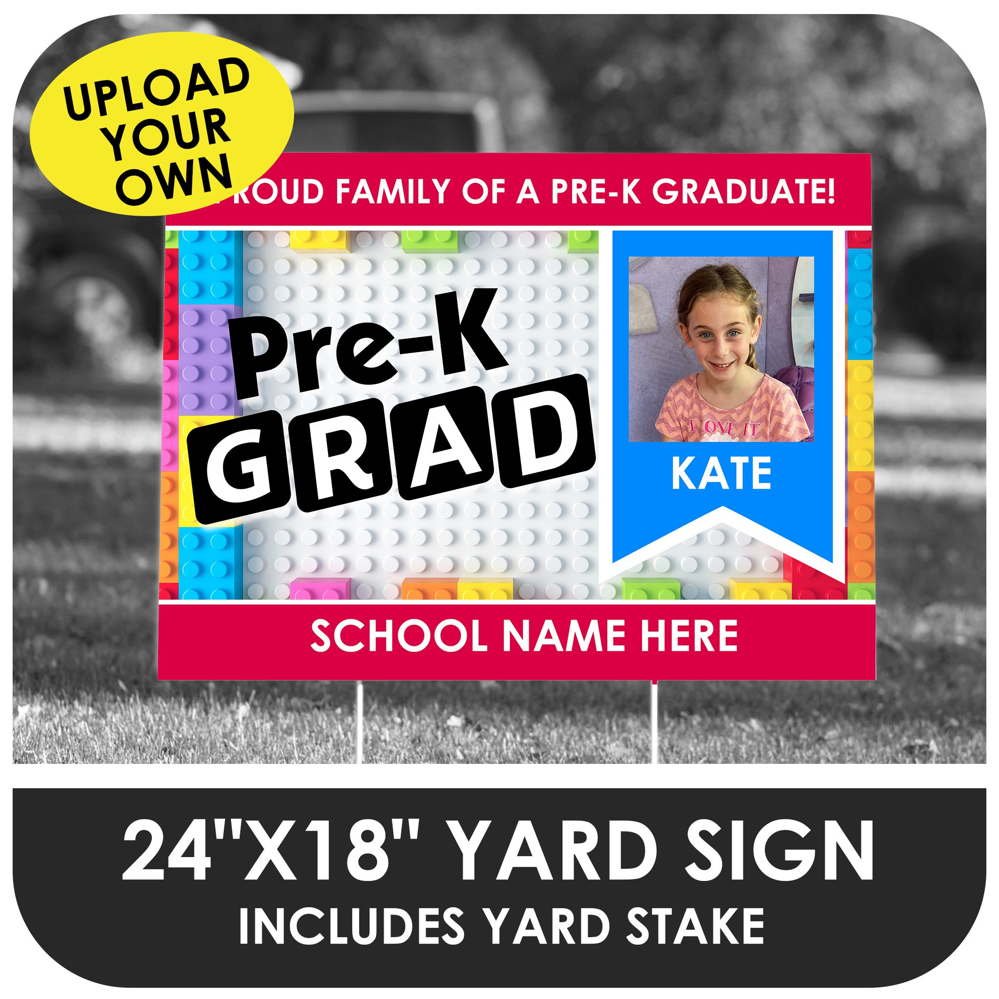 Pre-K Brick Design Yard Sign