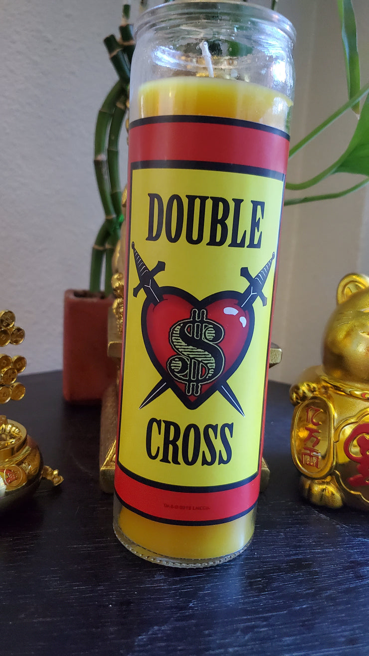 "Yellow Fixed ""Double Cross"" 7 day Glass Vigil Candle Paraffin Wax #SpellCandles #RootWork #Conjure #CandleMagick #LuckyMojoCurioCo"