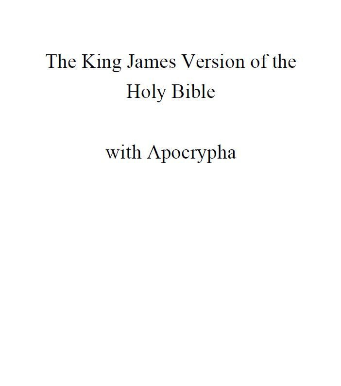 The King James Version of the Holy Bible with Apocrypha *Instant Download*