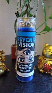 "Blue Fixed ""Psychic Vision"" 7 day Glass Vigil Candle Paraffin Wax #SpellCandles #RootWork #Conjure #CandleMagick #LuckyMojoCurioCo"