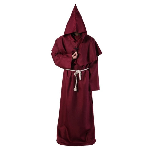 Hooded Qabbalistic Ceremonial Cloak with Cross Necklace