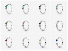 Load image into Gallery viewer, 💍💝STERLING SILVER 925 💝💍NEW Birthstone Collection Beaded ring+Pouch-R/PAN09
