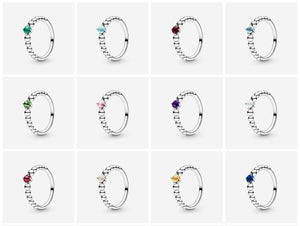 💍💝STERLING SILVER 925 💝💍NEW Birthstone Collection Beaded ring+Pouch-R/PAN09
