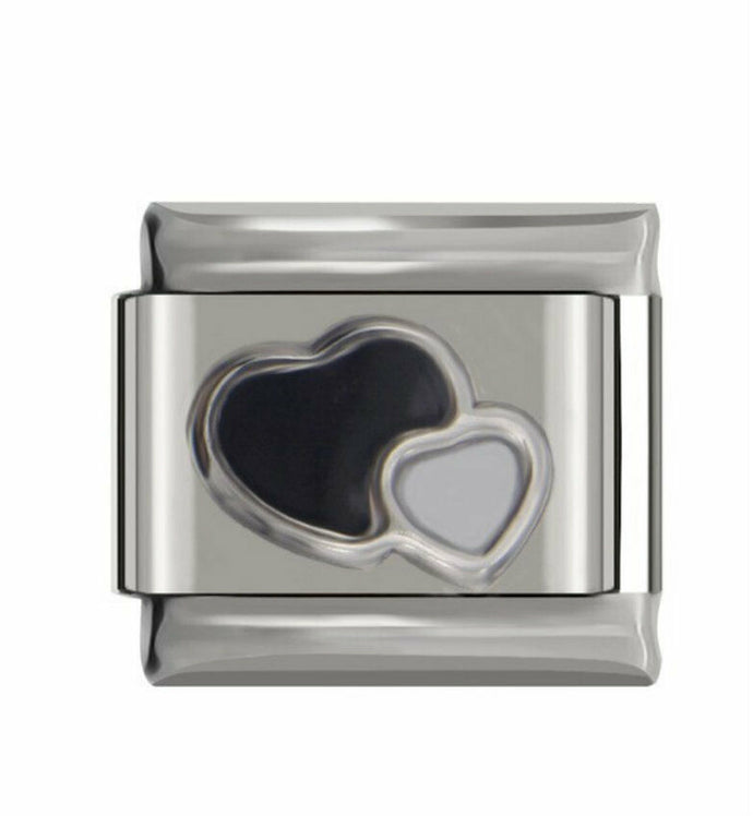 BLACK & WHITE HEARTS -ITALIAN-Charm-Fits Nomination- NEW in Gift Pouch-NC52