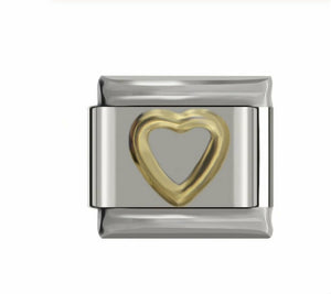 GOLD OPEN HEART - ITALIAN-Charm-Fits Nomination- NEW in Gift Pouch -NC54