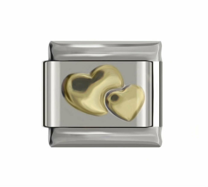 GOLD DOUBLE HEARTS - ITALIAN-Charm-Fits Nomination- NEW in Gift Pouch -NC55