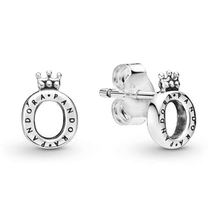 💎💝STERLING SILVER 925💎💝 POLISHED CROWN Stud Earrings-E/PAN15